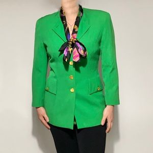 Vintage Escada Green gold button blazer jacket